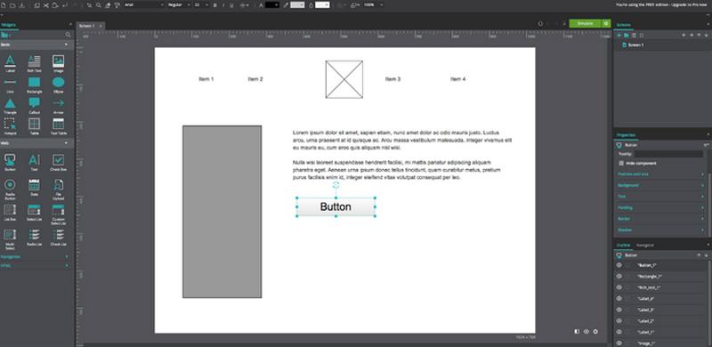 Prototyping tool JustInMind.