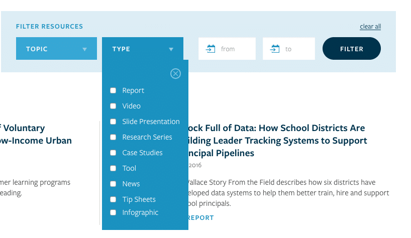 A screenshot from a website shows an example of filtering design, allowing users to filter resources by topic, type and date.