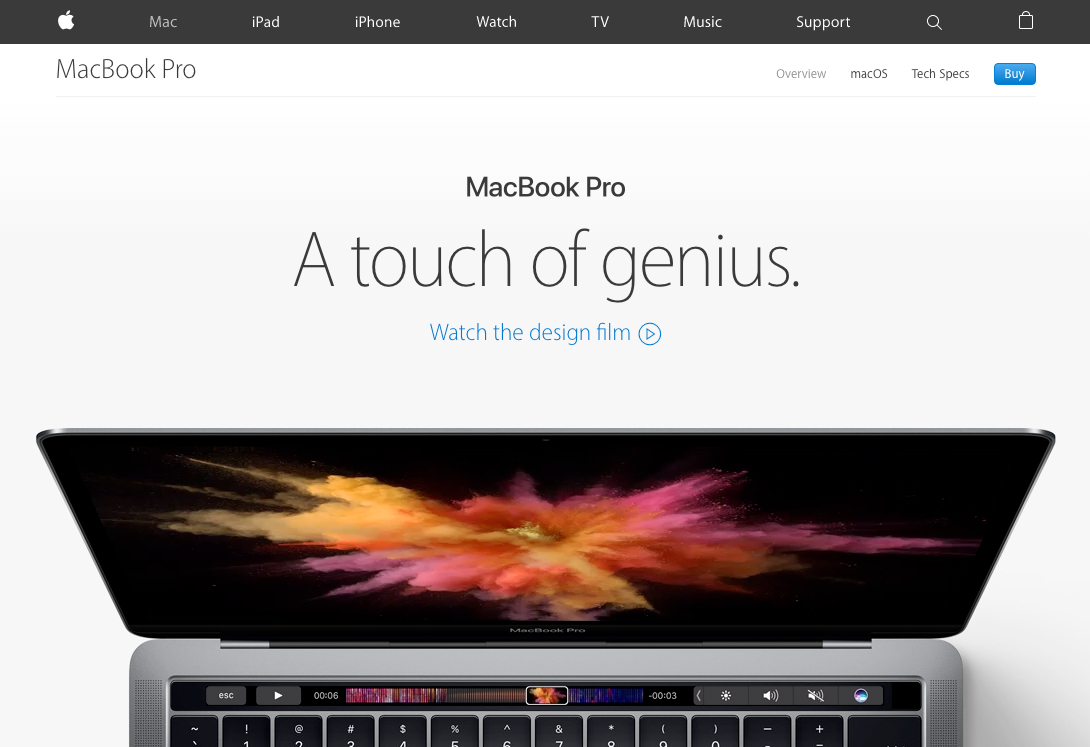 A screenshot from the Apple website shows a animated presentation of the new Macbook Pro.