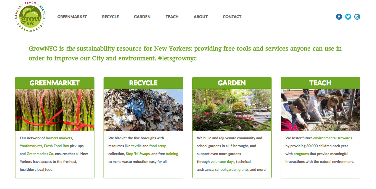 A screenshot from Grow NYC website