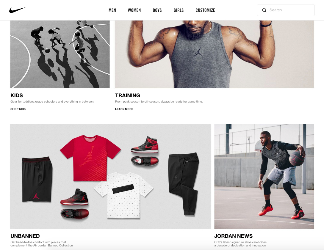 A screenshot from the Nike website shows a grid