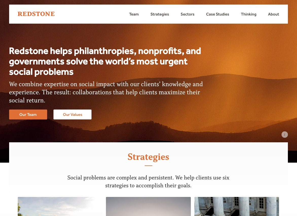 A screenshot from Redstone Strategy website shows well-executed static, simple design