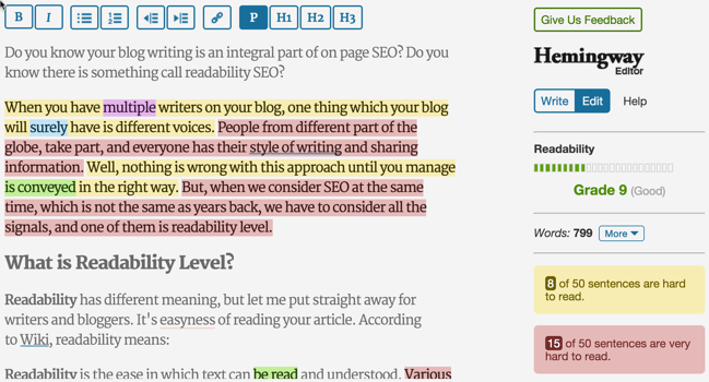 A screenshot of the Hemingway Editor showing readability.