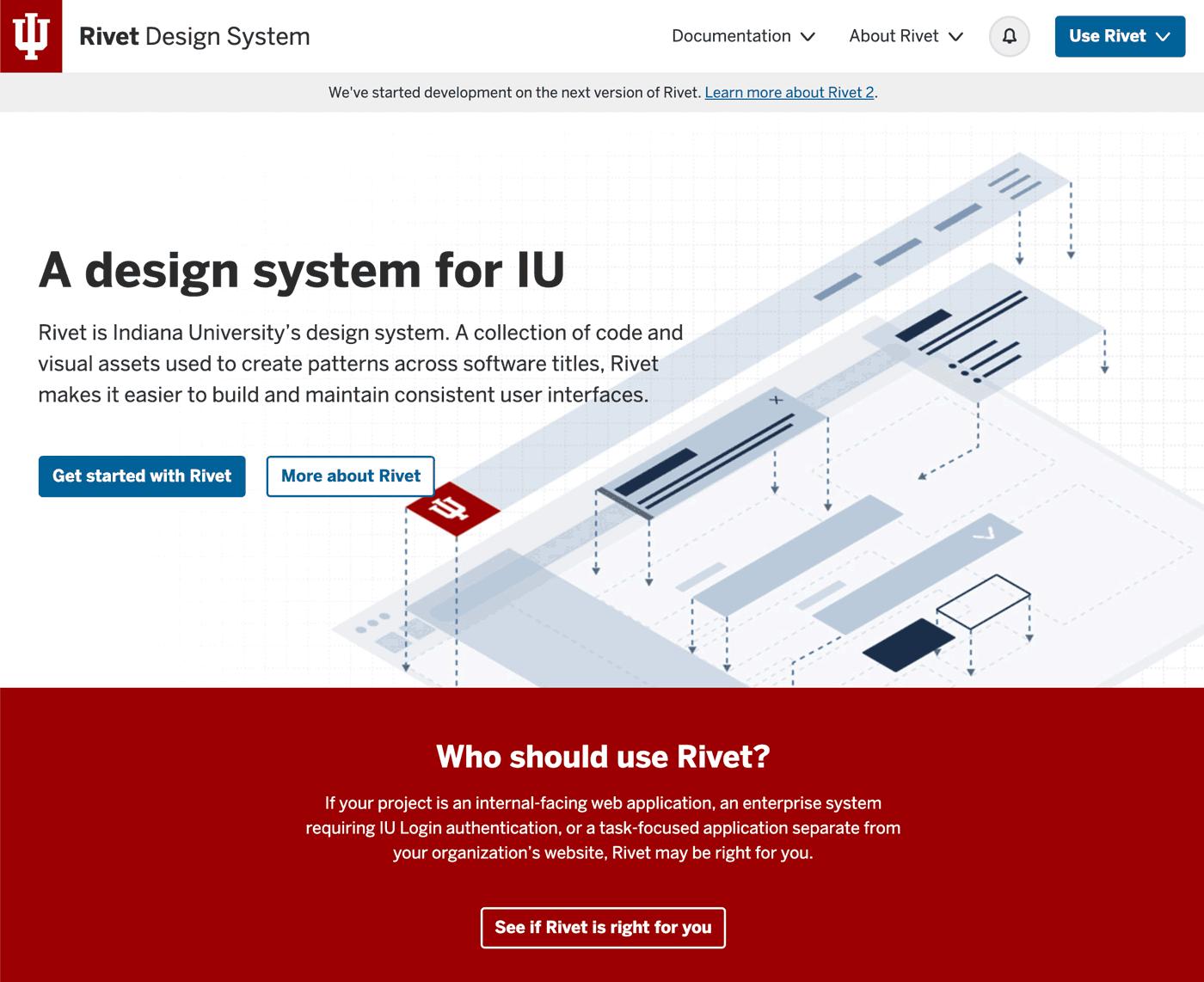 screenshot of Indiana University's design system