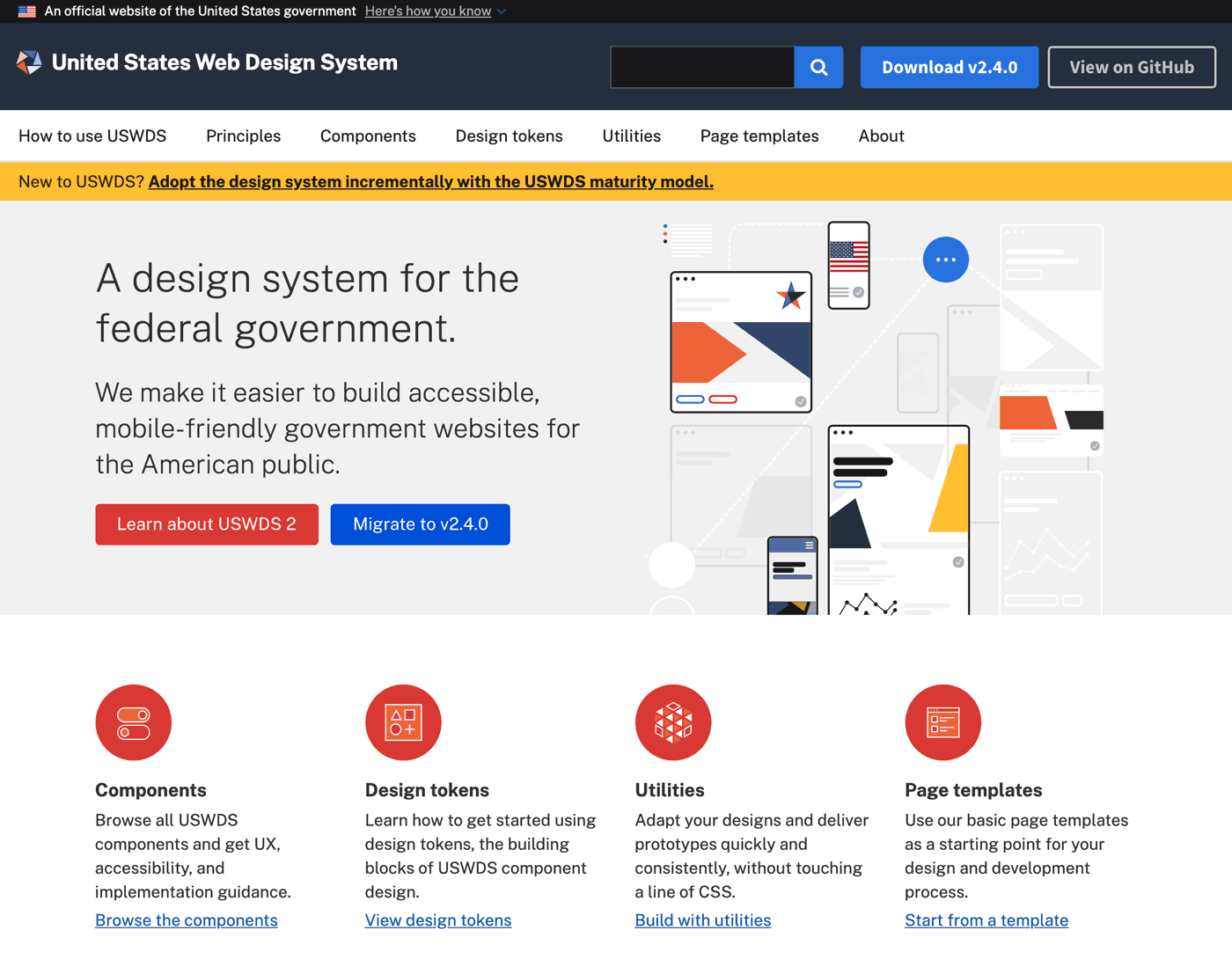 screen shot of united states web design system