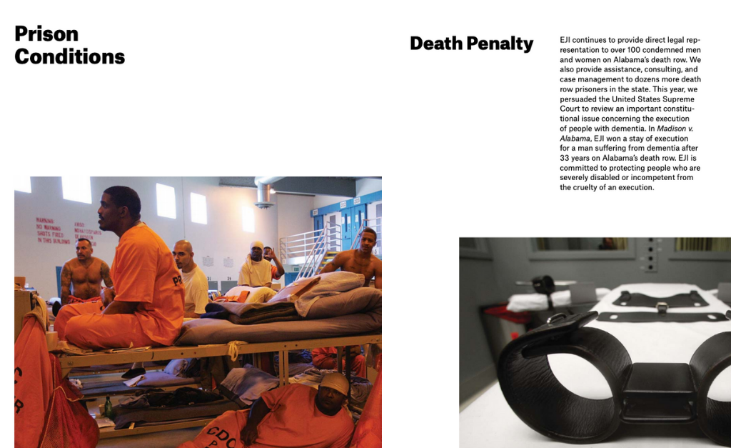 EJI report prison conditions and death penalty pages side by side