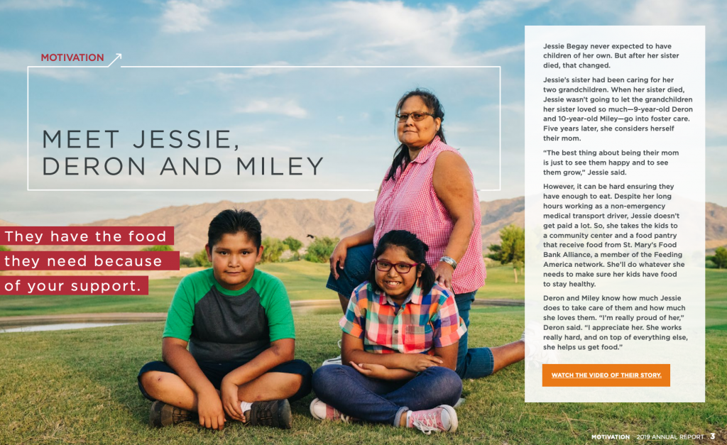 feeding america report - full page image of family with impact story